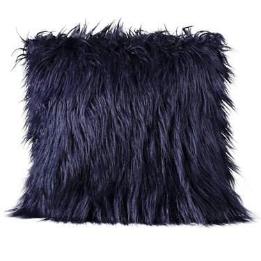 Blue Mongolian Faux Fur Pillow