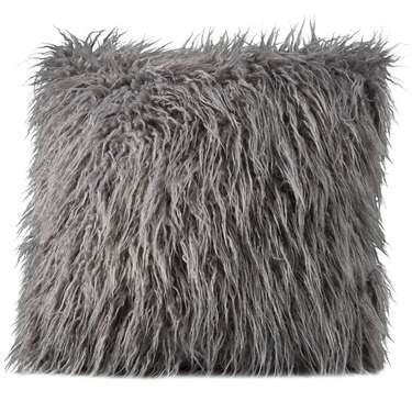 Gray Mongolian Faux Fur Pillow