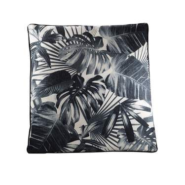 Black and Beige Tropical Pillow