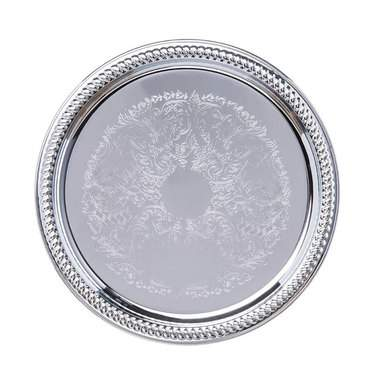 "Tray 14"" Rd Silver Gadroon"