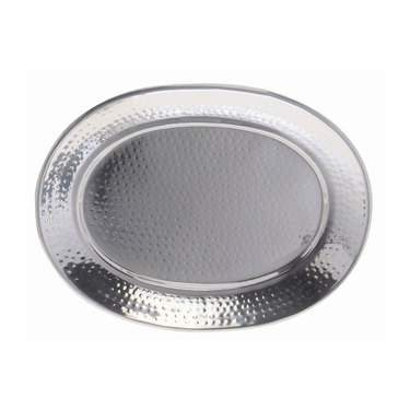 "Oval Tray 15"" x 20""  Hammered Stainless Steel"