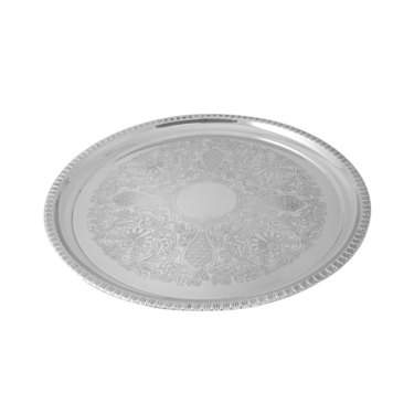 "Round 12"" Silver Gadroon Tray"