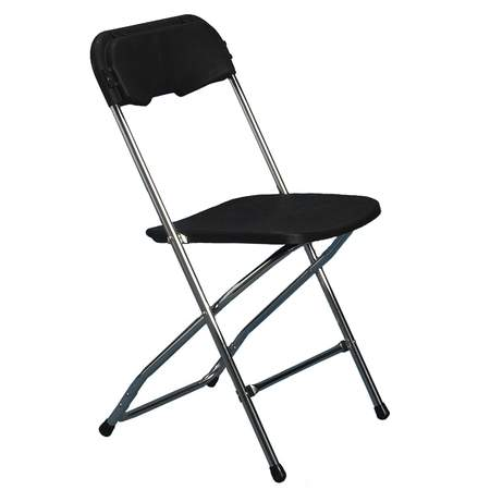 Folding Chair Black w/Chrome Frame
