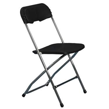Folding Chair Black w/Chrome Frame