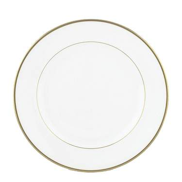 White with Gold Band Dinner Plate 10""
