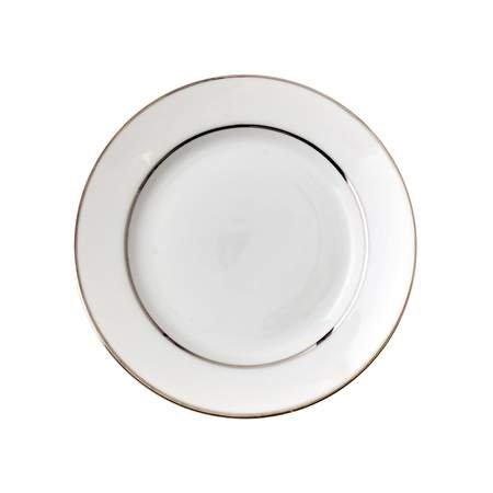 White Double Silver Banded Saucer