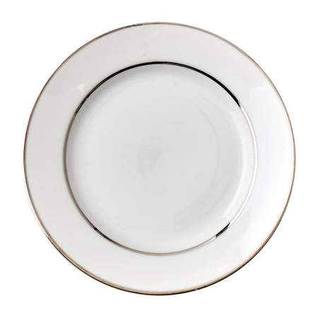 White Double Silver Banded Luncheon Plate 9""
