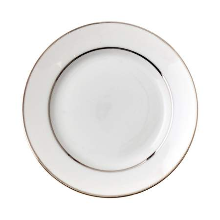 """White Double Silver Banded Plate 7.5"""""""