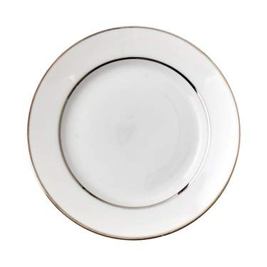 White Double Silver Banded Plate 7.5""