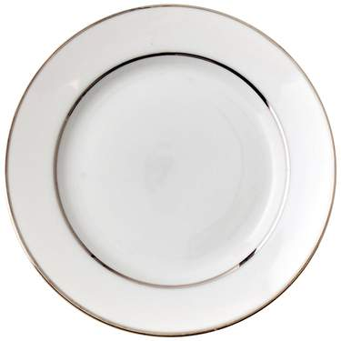 White Double Silver Banded Charger Plate 12""