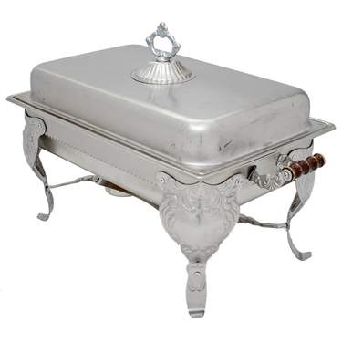 Chafer 8 qt Ornate Stainless Steel Rectangle
