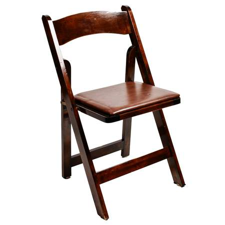 Folding Wood Fruitwood Chair w/ Brown Pad
