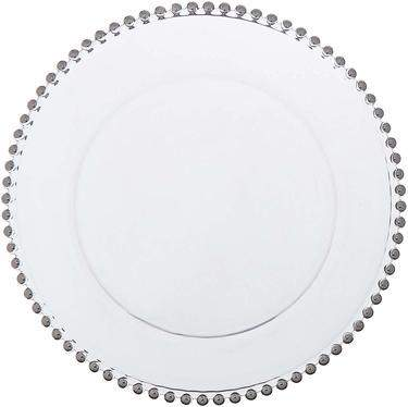Platinum Beaded Glass Charger