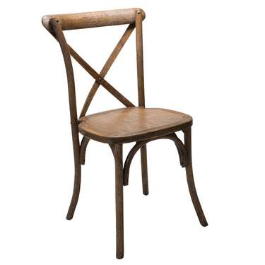 Antique Finish X-Back Wood Farm Chair