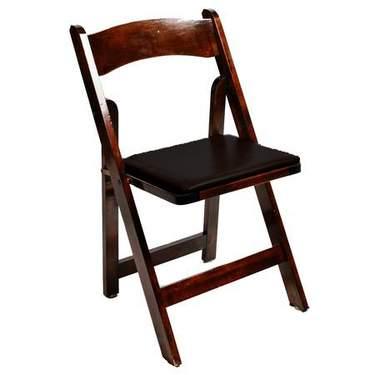Wood Folding Chair Fruitwood w/ Black Seat