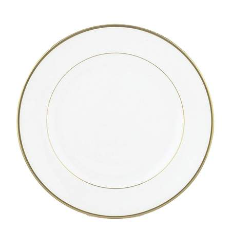 """White with Gold Band Dinner Plate 10.75"""""""