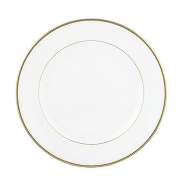 White with Gold Band Luncheon Plate 9""