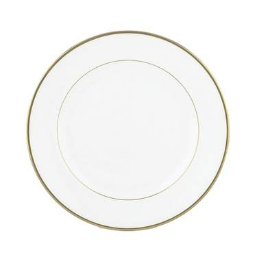 White with Gold Band Salad Plate 8""