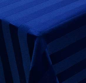 "Poly Satin Stripe Navy Blue 90"" Round"