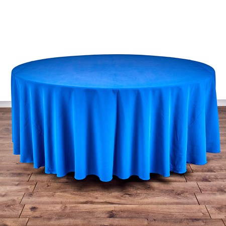 "Iridescent Crush Royal Blue 120"" Linen with 66"" round Tables"