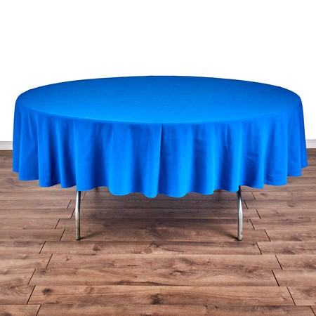 "Poly Navy Blue Satin Stripe Round 90"" with 66"" round Tables"