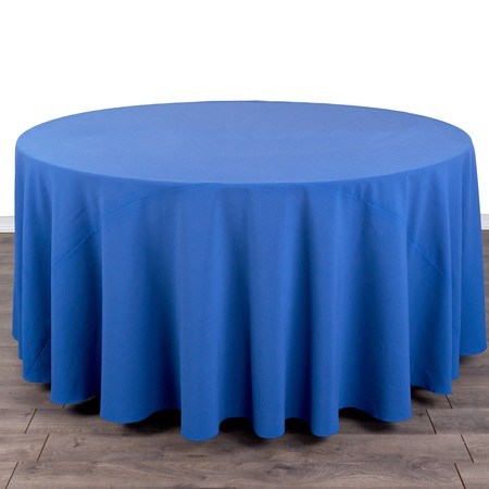 "Poly Royal Blue Round 120"" with 60"" round Tables"
