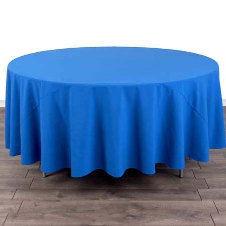 "Poly Satin Stripe White 108"" Round with 60"" round Tables"