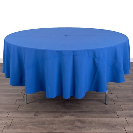 "Poly Satin Stripe Round Ivory 90"" with 60"" round Tables"