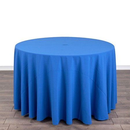 "Poly Satin Stripe Silver 108"" Round with 48"" round Tables"