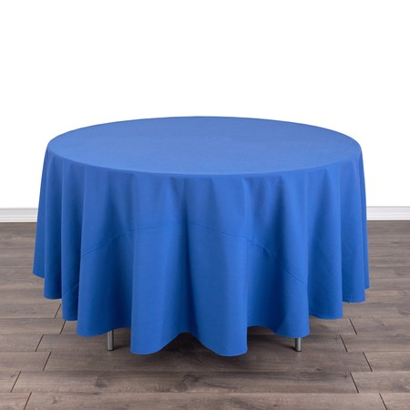 "Poly Navy Blue Satin Stripe Round 90"" with 48"" round Tables"