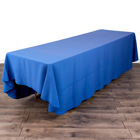 "Poly Satin 90"" x 132"" Stripe Navy Blue with 8' x 30"" Tables"
