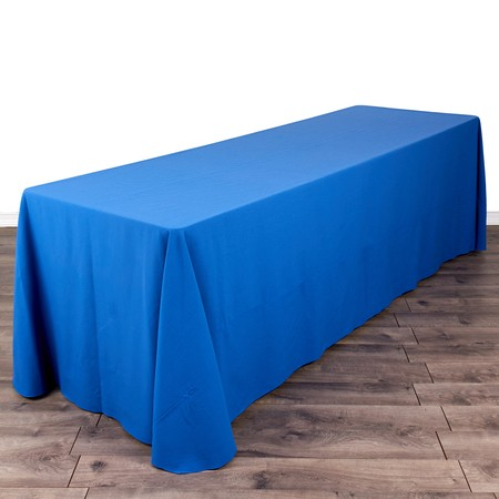 "Poly Royal Blue & White Check 90"" x 156"" with 8' x 30"" Tables"