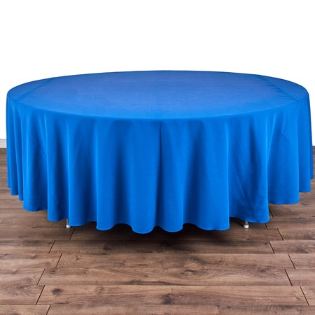 "Iridescent Crush Royal Blue 120"" Linen with 72"" round Tables"