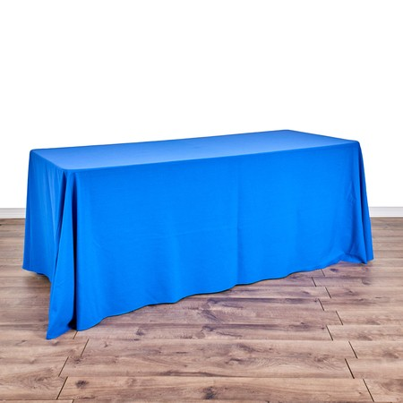 "Poly Satin 90"" x 132"" Stripe Navy Blue with 6' x 30"" Tables"