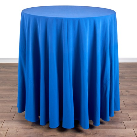 "Iridescent Crush Royal Blue 120"" Linen with 36"" round (42""H) Tables"
