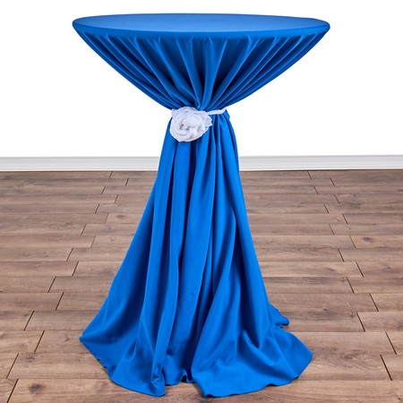 "Polyester Silver 132"" round with 30"" round (42""H) Tables"