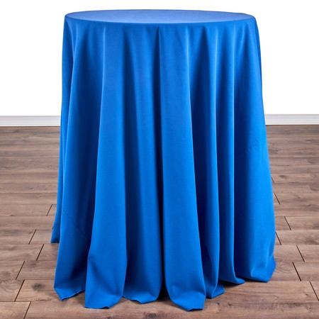 "Polyester Chocolate 120"" Round with 30"" round (42""H) Tables"
