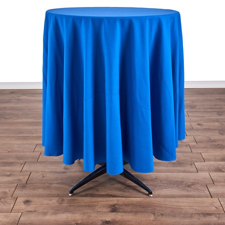 "Poly Navy Blue Satin Stripe Round 90"" with 30"" round (42""H) Tables"