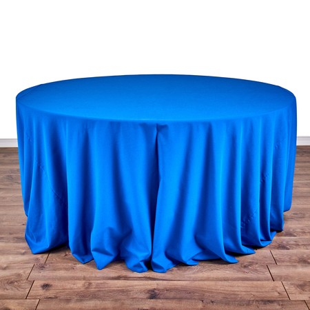 "Iridescent Crush Royal Blue 132"" Round with 66"" round Tables"