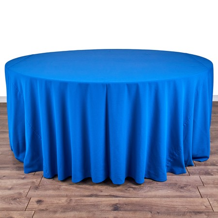 "Iridescent Crush Royal Blue 132"" Round with 72"" round Tables"