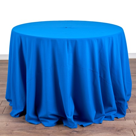 "Polyester Peacock 108"" Round with 42"" round Tables"