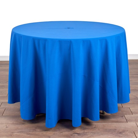 "Poly Goldenrod 90"" Round with 42"" round Tables"