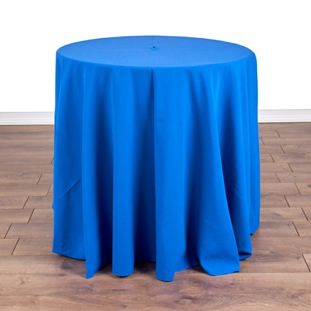 "Polyester Royal Blue 90"" Round with 30"" round (30""H) Tables"