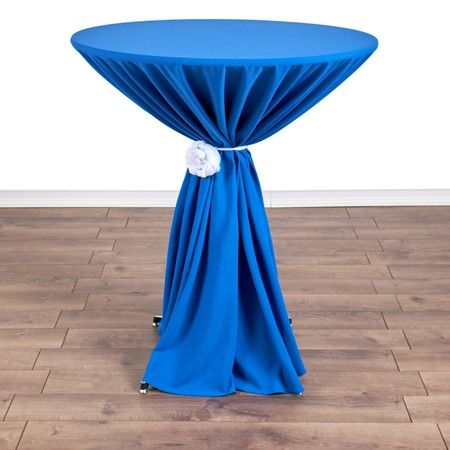 "Polyester Silver 132"" round with 36"" round (42""H) Tables"