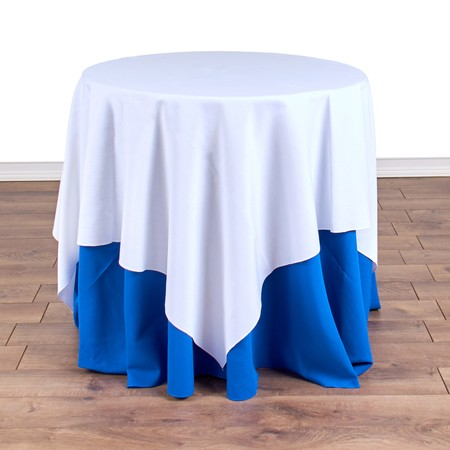 "Poly White Satin Stripe Square 54"" with 30"" round (30""H) Tables"
