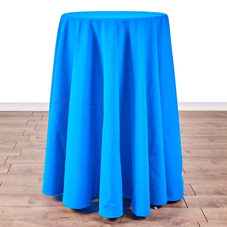 "Polyester Peacock 108"" Round with 24"" round (42"" H) Tables"
