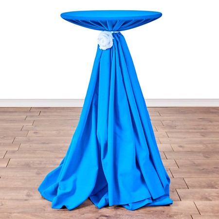 "Shantung Infinity Slate Blue 132"" Round with 24"" round (42"" H) Tables"