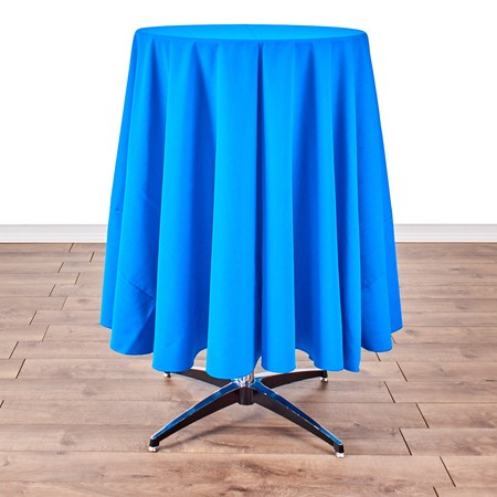 "Poly Navy Blue Satin Stripe Round 90"" with 24"" round (42"" H) Tables"