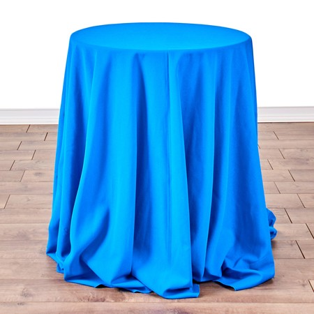 "Polyester Light Blue 90"" Round with 24"" round (30"" H) Tables"