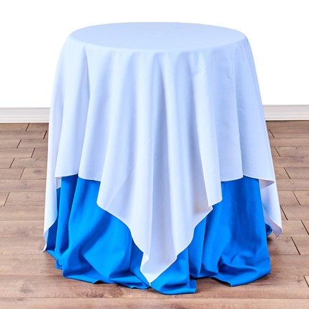 "Poly White Satin Stripe Square 54"" with 24"" round (30"" H) Tables"